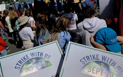 Protesters gather on September 20th in Portsmouth, NH to strike for the climate