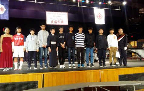 Students from Nichinan Gakuen Jr-Sr High School at the Portsmouth High School Japan Assembly