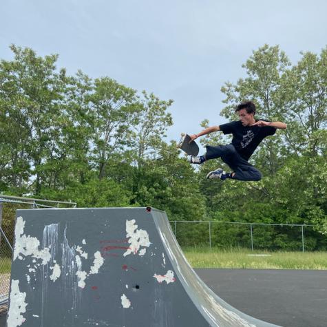 Seamus Durkin hitting a new trick at Greenleaf skatepark.
